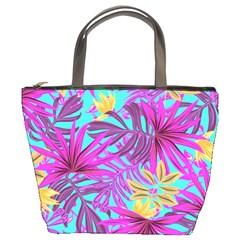 Tropical Pink Leaves Bucket Bag by Jojostore