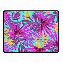 Tropical Pink Leaves Fleece Blanket (small)