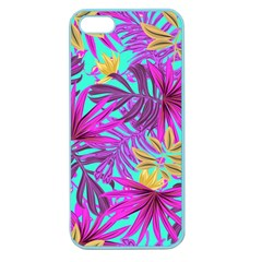 Tropical Pink Leaves Apple Seamless Iphone 5 Case (color) by Jojostore