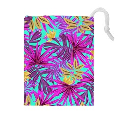 Tropical Pink Leaves Drawstring Pouch (xl) by Jojostore