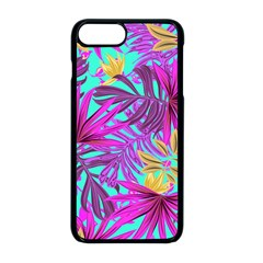 Tropical Pink Leaves Apple Iphone 8 Plus Seamless Case (black)