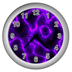Purple Pattern Background Structure Wall Clock (silver)