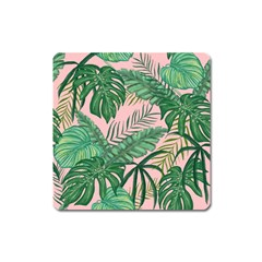 Tropical Greens Leaves Square Magnet