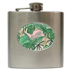 Tropical Greens Leaves Hip Flask (6 Oz)
