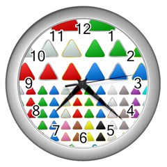 Triangle Button Metallic Metal Wall Clock (silver)