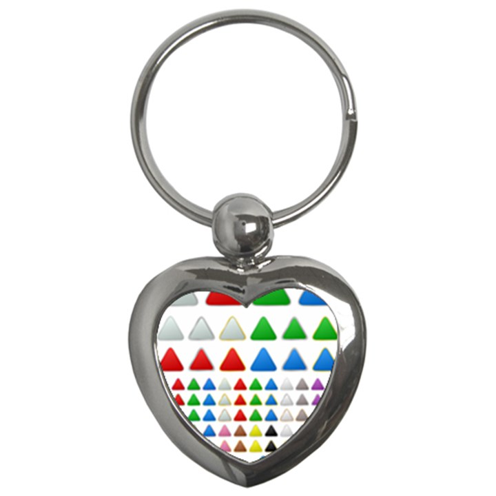 Triangle Button Metallic Metal Key Chains (Heart)