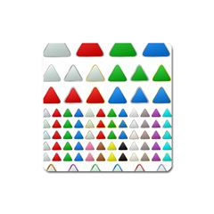 Triangle Button Metallic Metal Square Magnet by Jojostore