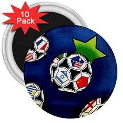 Textile Football Soccer Fabric 3  Magnets (10 Pack)