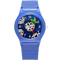 Textile Football Soccer Fabric Round Plastic Sport Watch (s)