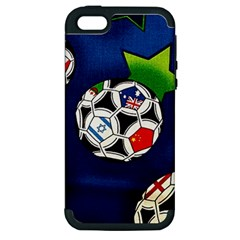 Textile Football Soccer Fabric Apple Iphone 5 Hardshell Case (pc+silicone)