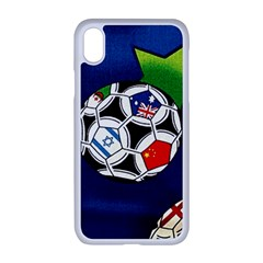 Textile Football Soccer Fabric Apple Iphone Xr Seamless Case (white)