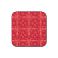 Triangle Mosaic Red Pattern Mirror Rubber Coaster (square)  by Jojostore