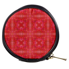 Triangle Mosaic Red Pattern Mirror Mini Makeup Bag by Jojostore