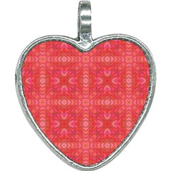 Triangle Mosaic Red Pattern Mirror Heart Necklace