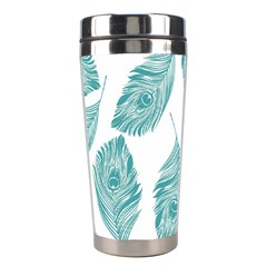 Peacock Feather Background Stainless Steel Travel Tumblers by AnjaniArt