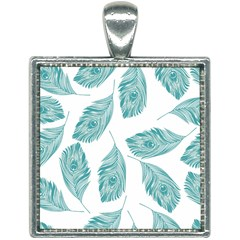 Peacock Feather Background Square Necklace by AnjaniArt