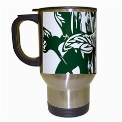 Plant Tropical Leaf Colocasia Travel Mugs (white) by AnjaniArt