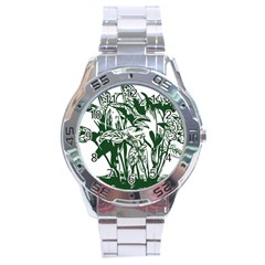 Plant Tropical Leaf Colocasia Stainless Steel Analogue Watch