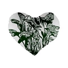 Plant Tropical Leaf Colocasia Standard 16  Premium Heart Shape Cushions by AnjaniArt