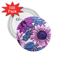 Fabric Flowers Floral Design 2 25  Buttons (100 Pack)  by Pakrebo