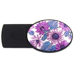 Fabric Flowers Floral Design Usb Flash Drive Oval (4 Gb) by Pakrebo