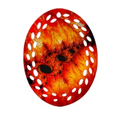 Red Fractal Mandelbrot Art Wallpaper Ornament (oval Filigree)