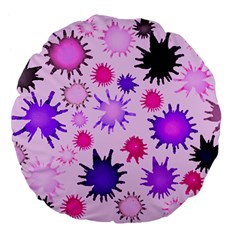Inks Drops Black Paint Design Large 18  Premium Flano Round Cushions