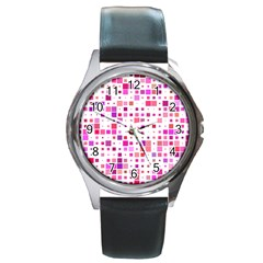 Square Pattern Colorful Round Metal Watch