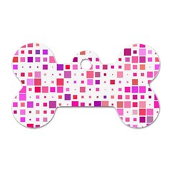 Square Pattern Colorful Dog Tag Bone (two Sides) by AnjaniArt