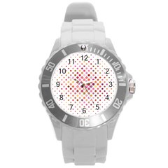 Square Pattern Background Repeat Round Plastic Sport Watch (l)