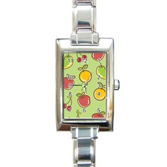 Seamless Fruit Rectangle Italian Charm Watch