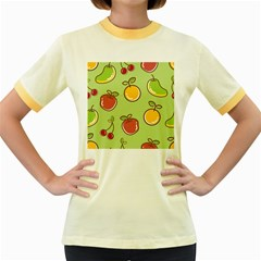 Seamless Fruit Women s Fitted Ringer T-shirt by AnjaniArt