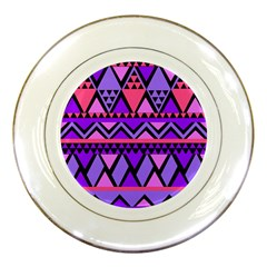 Seamless Purple Pink Pattern Porcelain Plates