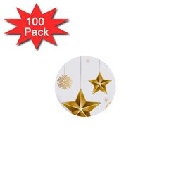 Star Christmas Ornaments 1  Mini Buttons (100 Pack)  by AnjaniArt