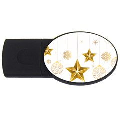 Star Christmas Ornaments Usb Flash Drive Oval (4 Gb) by AnjaniArt