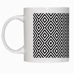 Square Diagonal Concentric Pattern White Mugs