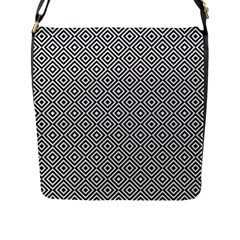 Square Diagonal Concentric Pattern Flap Closure Messenger Bag (l)