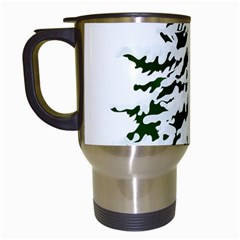 Winter Snowy Pine Tree Travel Mugs (white) by AnjaniArt