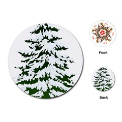 Winter Snowy Pine Tree Playing Cards (round)