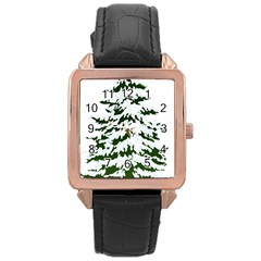 Winter Snowy Pine Tree Rose Gold Leather Watch