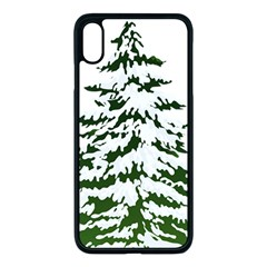 Winter Snowy Pine Tree Apple Iphone Xs Max Seamless Case (black) by AnjaniArt