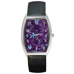 Stamping Pattern Leaves Barrel Style Metal Watch