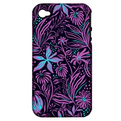 Stamping Pattern Leaves Apple Iphone 4/4s Hardshell Case (pc+silicone)
