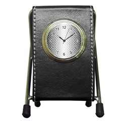 Square Rounded Background Pen Holder Desk Clock
