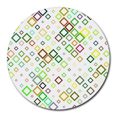 Square Colorful Geometric Style Round Mousepads