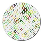 Square Colorful Geometric Style Round Mousepads Front