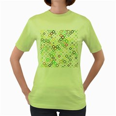 Square Colorful Geometric Style Women s Green T Shirt
