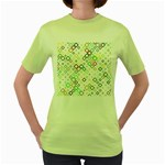Square Colorful Geometric Style Women s Green T-Shirt Front