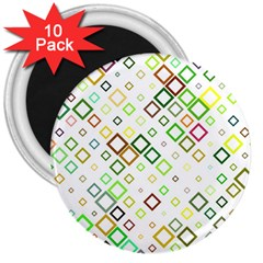 Square Colorful Geometric Style 3  Magnets (10 Pack)