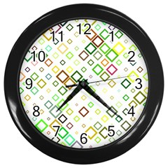 Square Colorful Geometric Style Wall Clock (black)